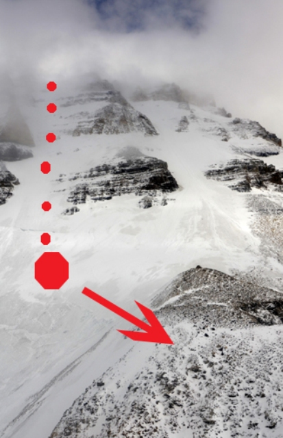 The West Face of Lefroy. The climber slid from the summit to the red stop sign, and then was transported back to the hut.