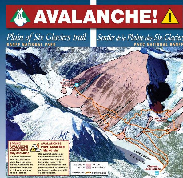 Aerial Relief Map of the Plain of Six Glaciers Trail, Banff National Park showing significant avalanche terrain. Spring Avalanche Conditions May and June. Wet snow alvalanches from high above can come down and cover the trail. Conditions are particularly dangerous on hot sunny days, or when it's raining.
