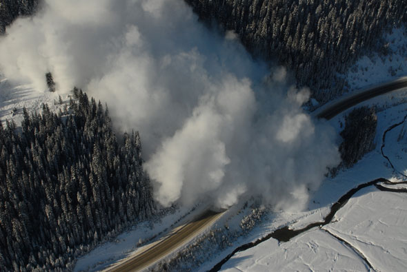 Highway avalanche control is part of the Mountain Safety Specialists job.