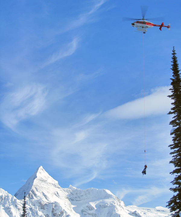 heli-sling rescue training in Glacier National Park