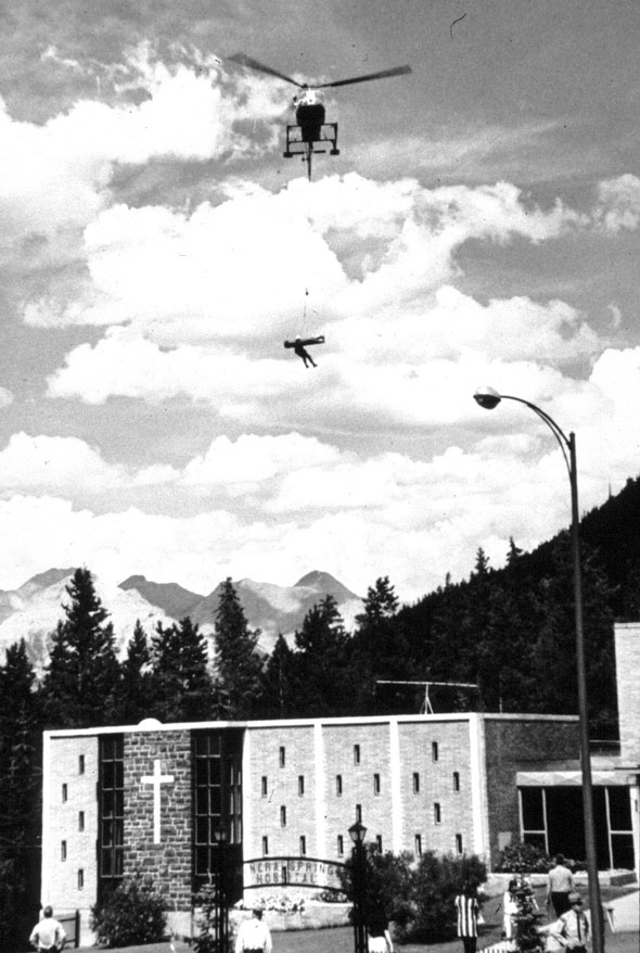Since the 1960's, helicopters have been used to transport injured Parks Canada visitors.