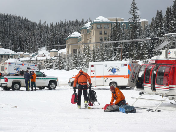 Mountain Safety Specialists respond to an emergency in Lake Louise, Banff National Park