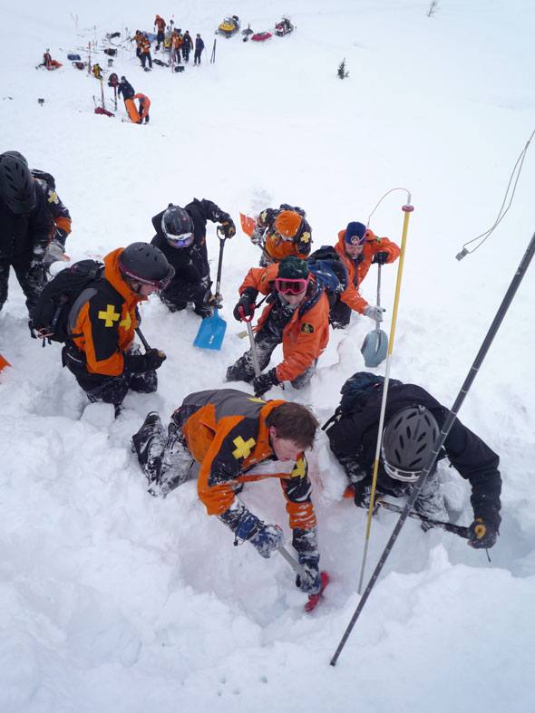 Parks Canada Mountain Safety Specialists practice their skills regularly with other rescue team members.