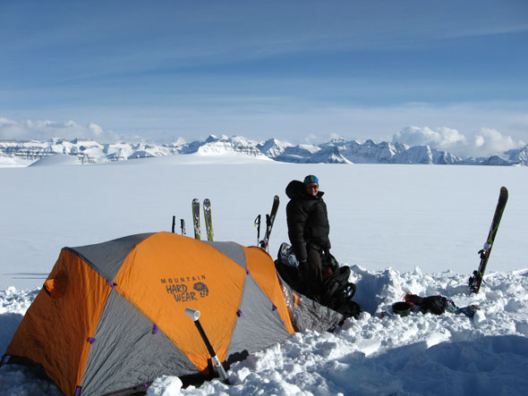 Winter camping on the Columbia Icefields, Jasper National Park