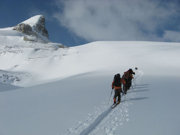 The Wapta Icefields straddling Banff and Yoho National Parks is a popular ski mountaineering destination.