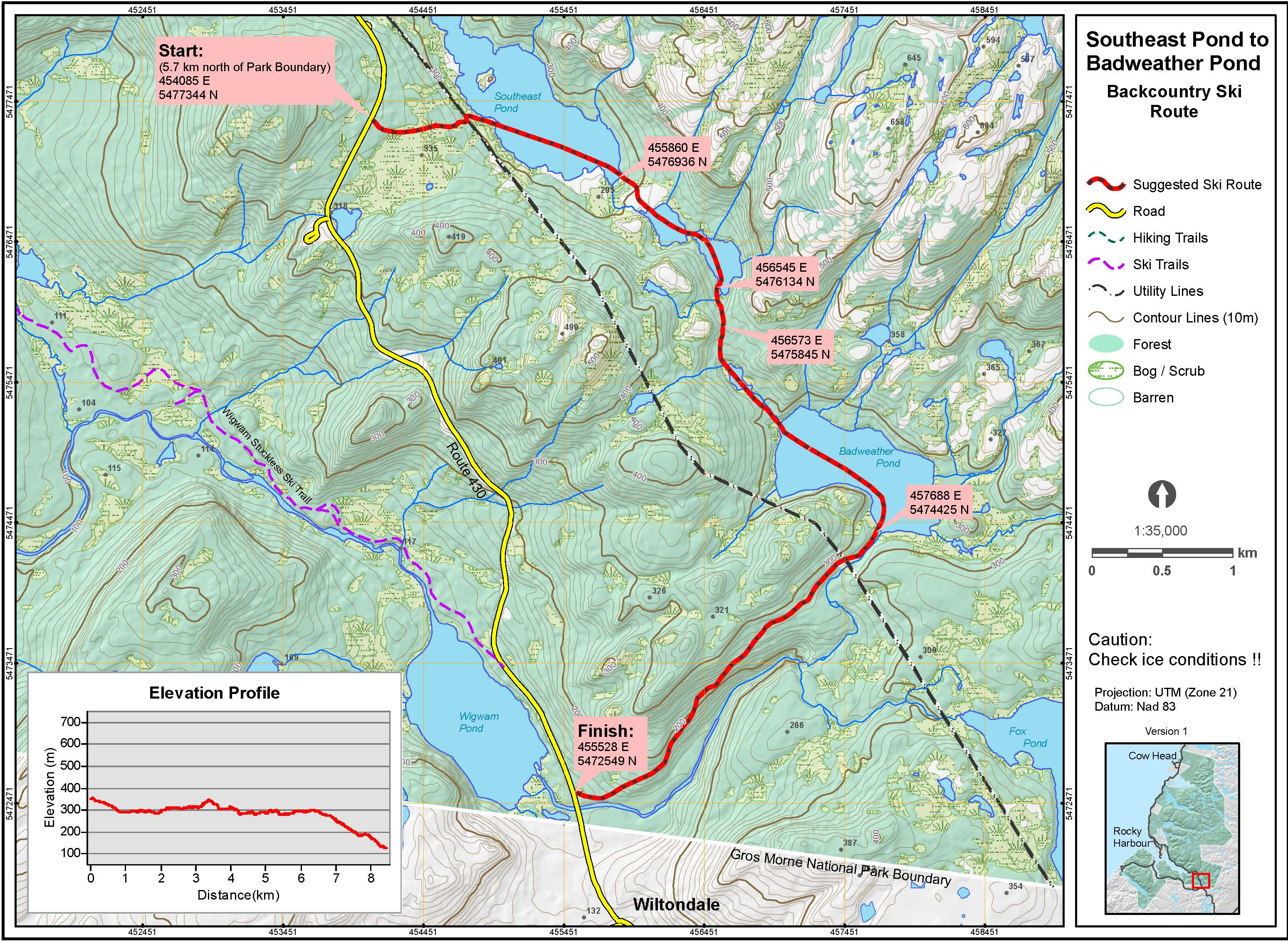 Badweather Pond to Southeast Pond map