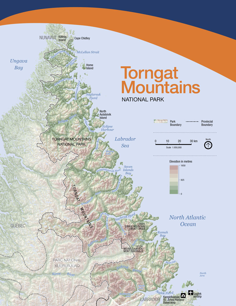 A Torngat Mountains National Park - Mountains in canada map