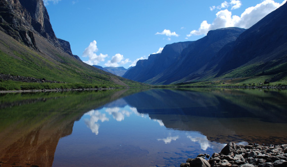 Lake bordered by mountains in Torngat Mountains National Park
