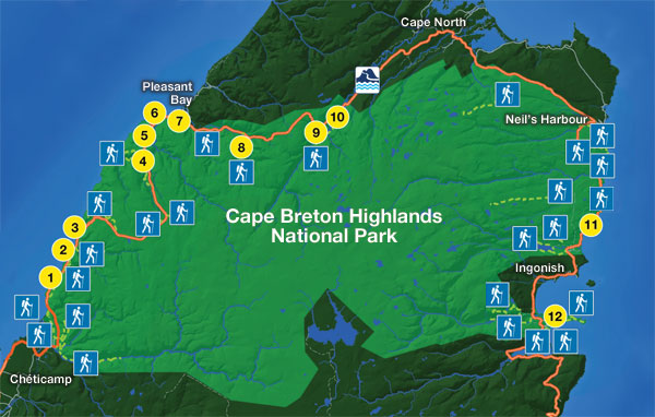Sightseeing map of Cape Breton Highlands National Park
