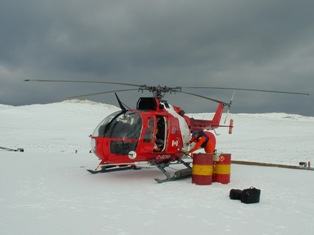 Helicopter delivering supplies for winter research, Sable Island National Park Reserve