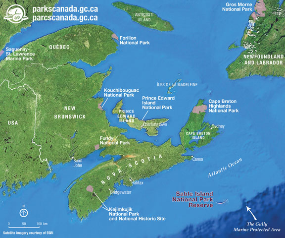 map of Sable Island and region