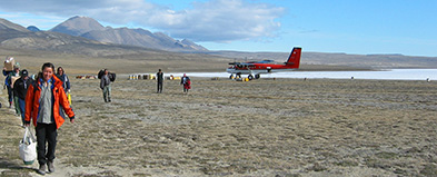 Plane landing in Quttinirpaaq National Park
