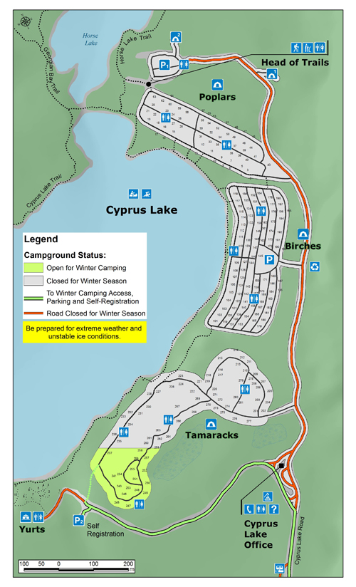 Map of winter camping at Cyprus Lake