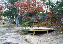 Tent platform at Honeymoon Bay Campground