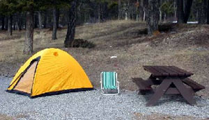 A campsite with no food items left unattended