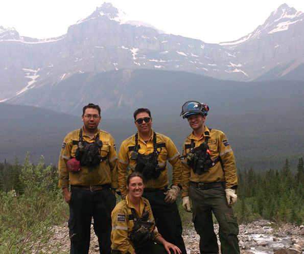 Pukaskwa National Park's 2014 Fire Crew in Banff [L-R: Kyle Nabigon, Basil Goodchild, Ben Lacrooy, and Courtney Baldwin (kneeling)]