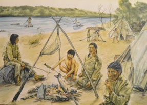 Illustration of Aboriginal peoples at their camp on the beach