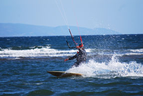 Kitesurfer on the sea.