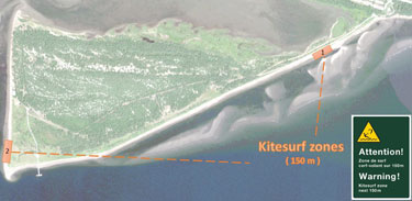 Map showing kitesurf zones at Penouille.