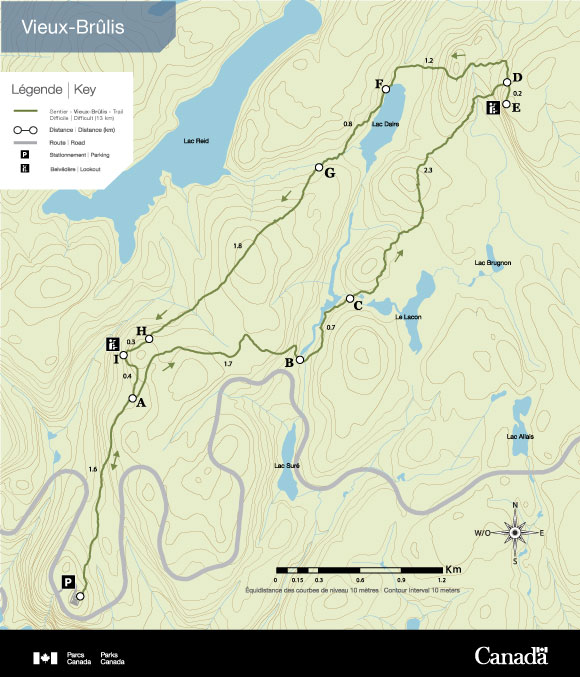Maps of Vieux-Brûlis Hiking Trails