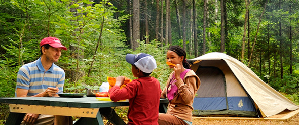 An adult and two children having a meal in front of their tent in primitive camping.