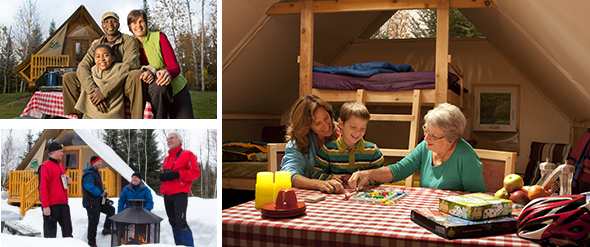Family and friends enjoying indoors and outdoors around Parks Canada oTENTik.