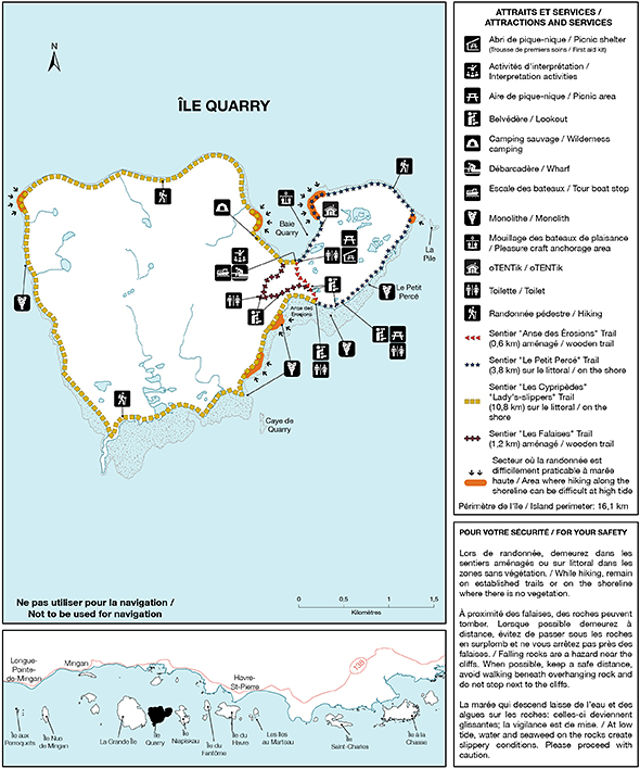 Map of trails and facilities found on île Quarry