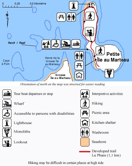 Trails and facilities found on Petite île au Marteau