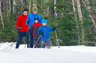 A family snowshoeing.