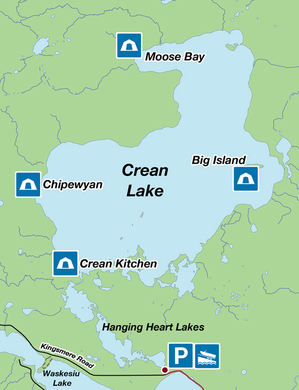 Map of the Crean Lake campgrounds.