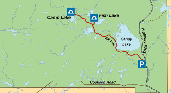 Map of the South Area campgrounds.