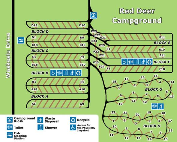 Red Deer Campground Map