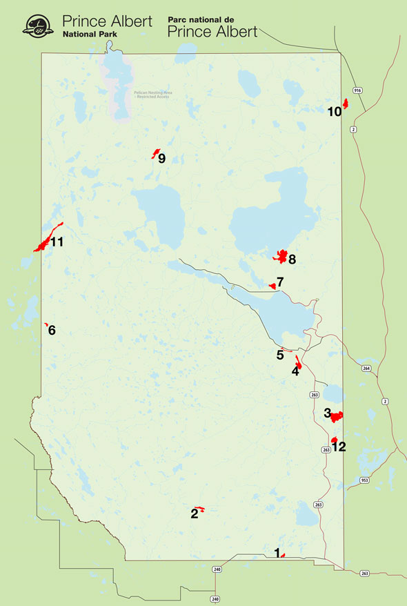Map – Prince Albert National Park loon survey lakes.
