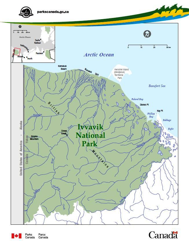 Small Map Of Canada.Maps Ivvavik National Park