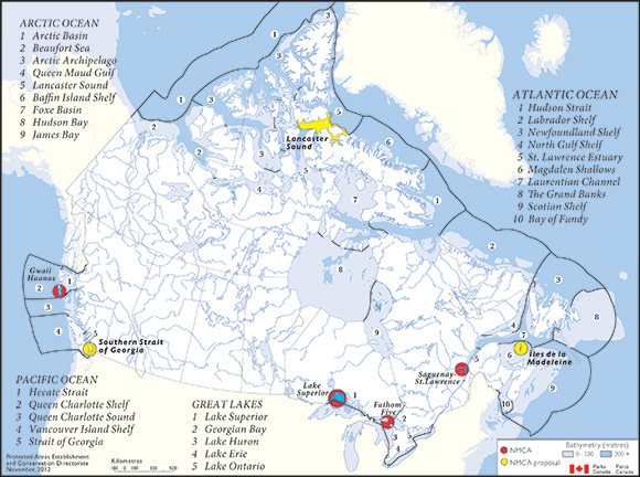 Map of Canada's national marine conservation areas system