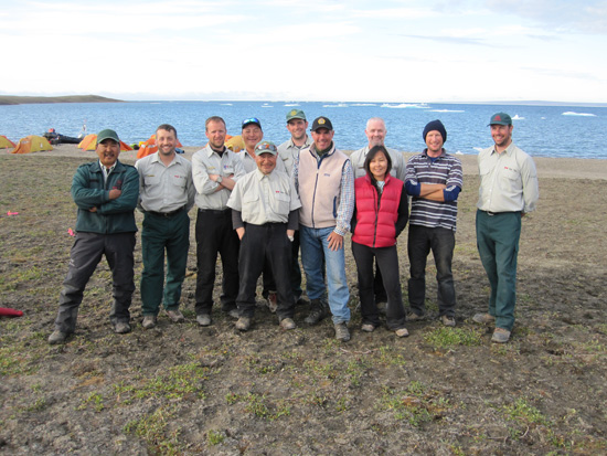 Minister Prentice with archaeological team, Aulavik National Park