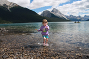 Enjoying summer at Maligne Lake, Jasper National Park.