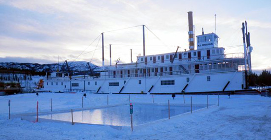 Shinny rink at the S.S. Klondike National Historic Site
