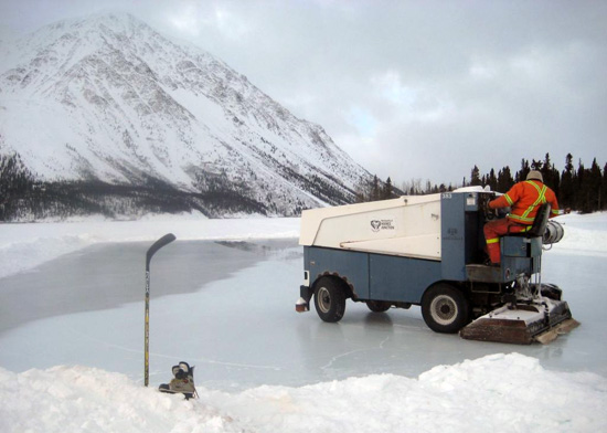 Zamboni on Kathleen Lake in Kluane National Park