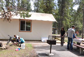 The cottage tents in Jasper National Park are a great way to experience camping