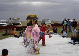 Young Aboriginal dancers at the Grasslands National Park bison release ceremony