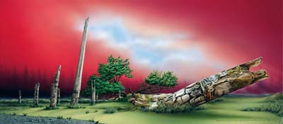 Painting of what is left of six memorial poles on SGaang Gwaii Island. The green on the ground, the gray of the poles, the red of the sky and the blue of the clouds offer a remarkable and  poignant vision.