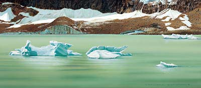 Painting of Jasper Lake of a spectacular green. A few ice pieces float on it. A steep bank partially covered with snow far away.