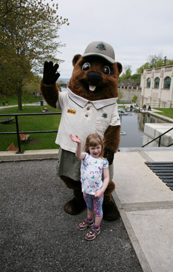 Parka meets her very first fan; Chloe, 4, from Charlottetown, PEI, in Ottawa, May 17, 2011
