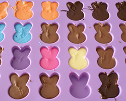 Different-coloured chocolate bunnies in a silicon mould