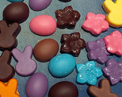 Unmolded chocolates yet to be decorated
