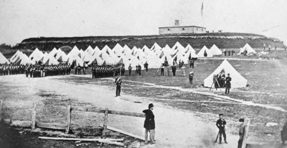 Fort Wellington soldiers at camp
