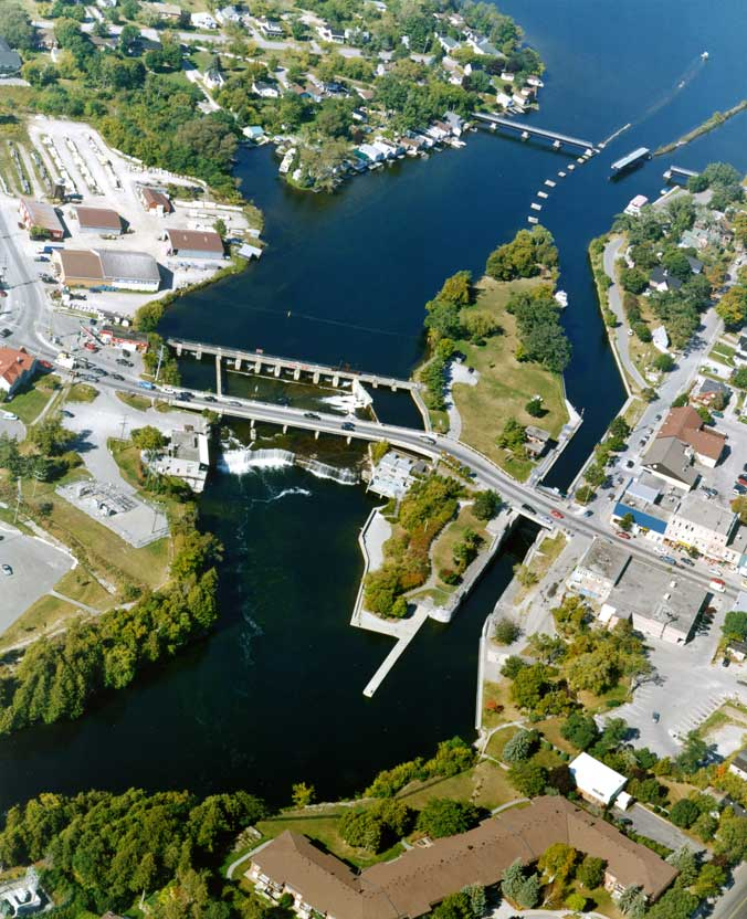 Aerial view of lock 34 Fenelon Falls