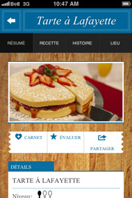 Capture d'écran du application mobile Patrimoine Gourmand