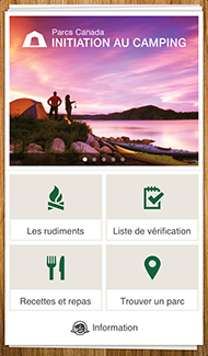 Capture d'écran du application mobile Initiation au camping